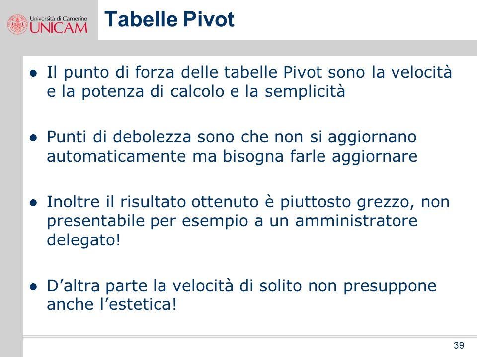 Tabelle Pivot Il punto di forza delle tabelle Pivot sono la velocità e la potenza di calcolo e la semplicità.