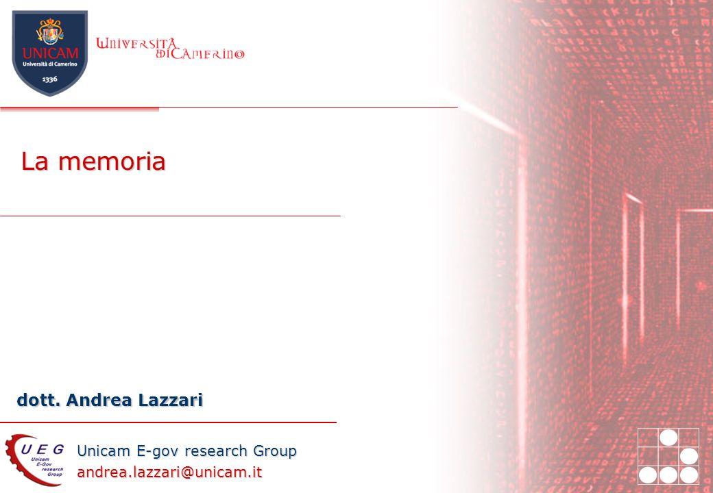 27/03/2017 La memoria Introduzione ai sistemi informatici