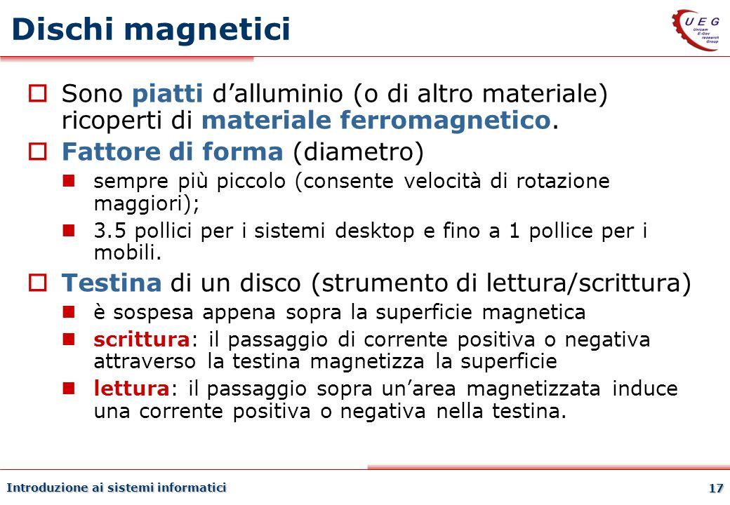 Dischi magnetici 27/03/2017. Sono piatti d'alluminio (o di altro materiale) ricoperti di materiale ferromagnetico.