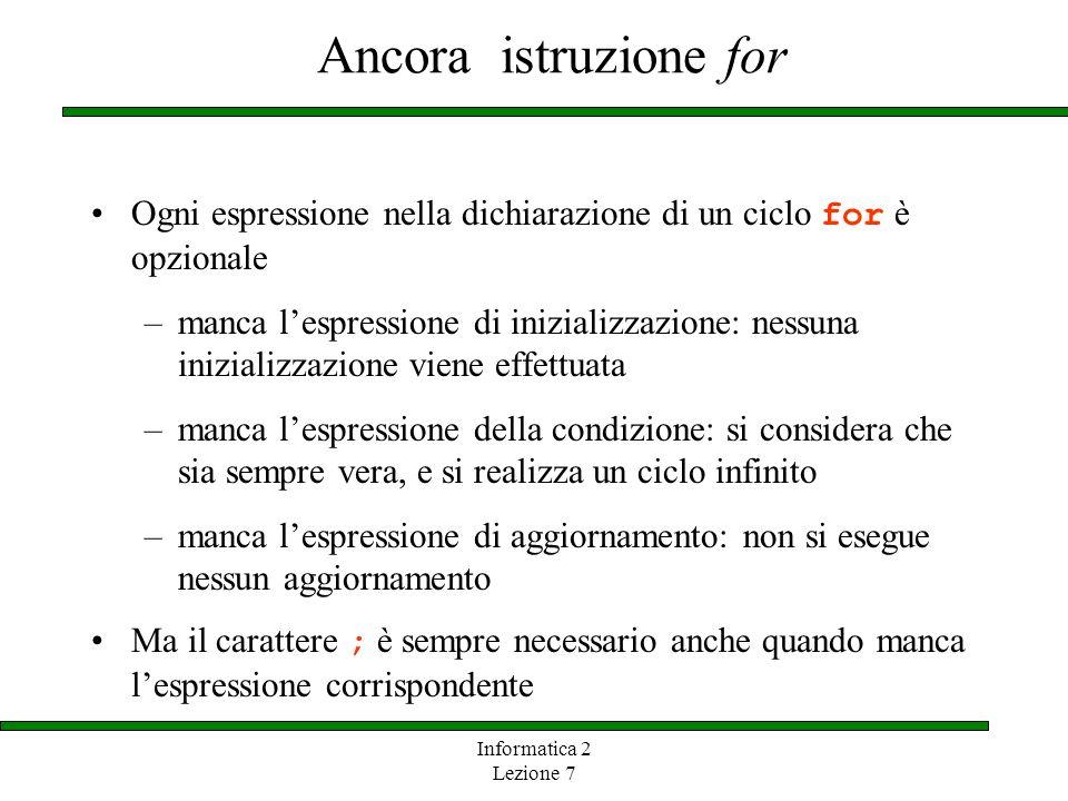 Ancora istruzione for Ogni espressione nella dichiarazione di un ciclo for è opzionale.