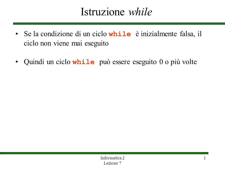 Istruzione while Se la condizione di un ciclo while è inizialmente falsa, il ciclo non viene mai eseguito.