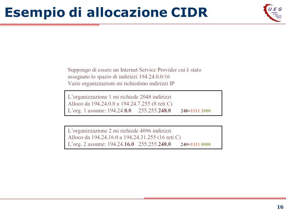 Esempio di allocazione CIDR