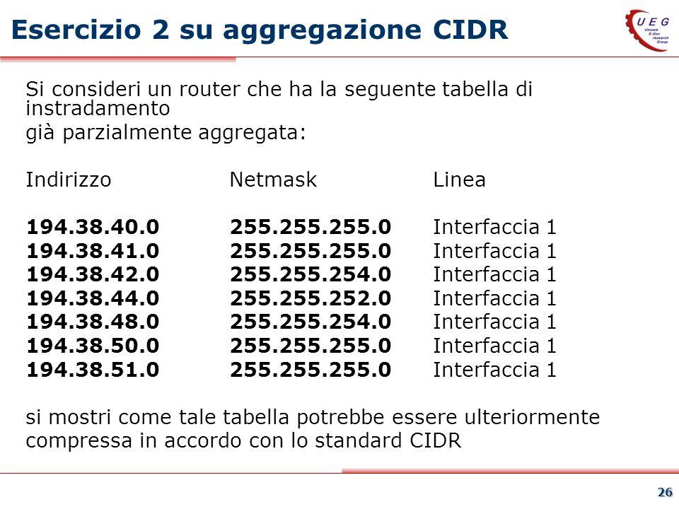 Esercizio 2 su aggregazione CIDR