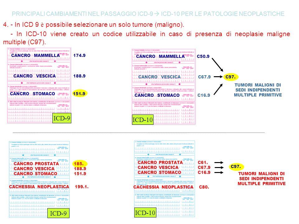 4. - In ICD 9 è possibile selezionare un solo tumore (maligno).