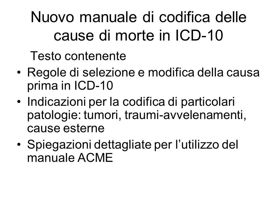 Nuovo manuale di codifica delle cause di morte in ICD-10