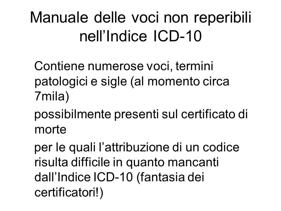 Manuale delle voci non reperibili nell'Indice ICD-10