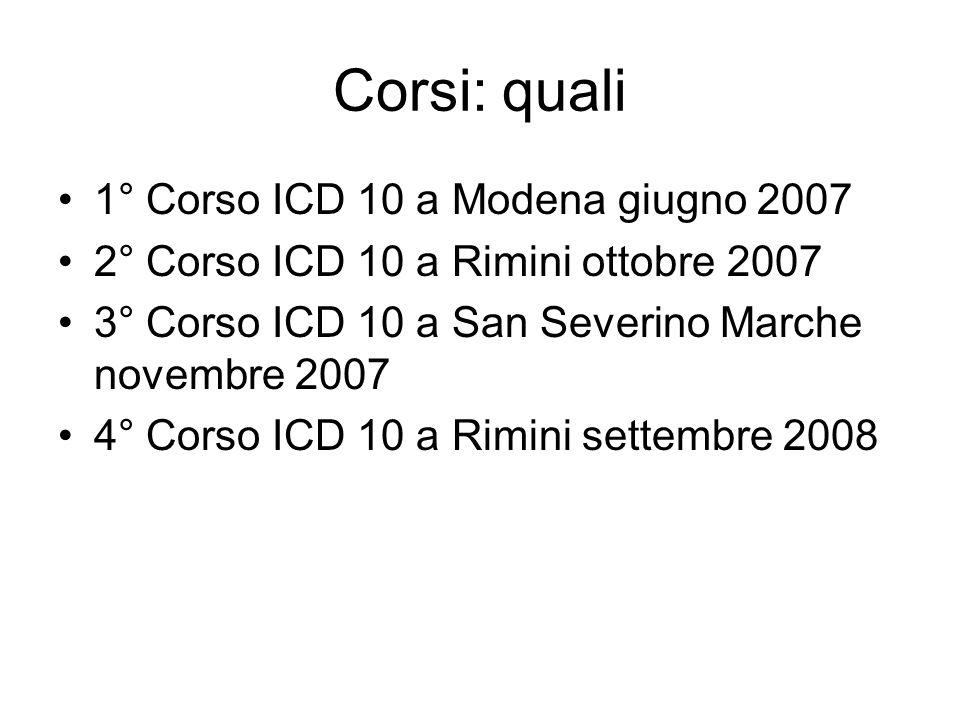 Corsi: quali 1° Corso ICD 10 a Modena giugno 2007