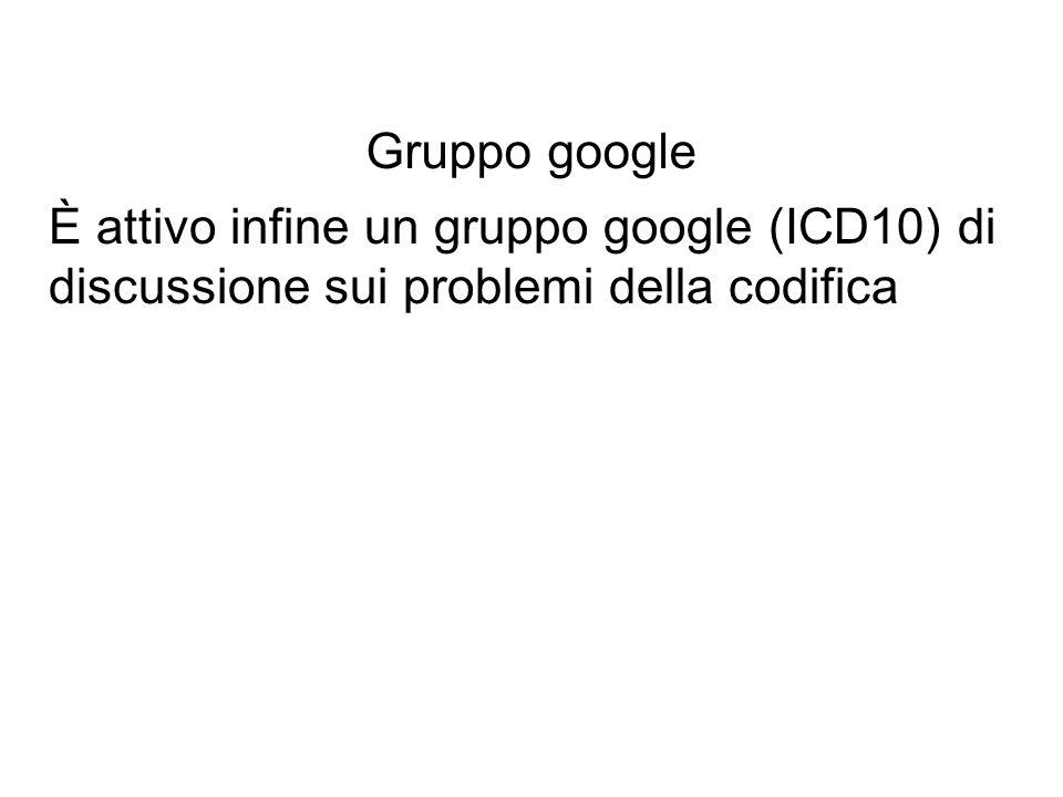 Gruppo google È attivo infine un gruppo google (ICD10) di discussione sui problemi della codifica