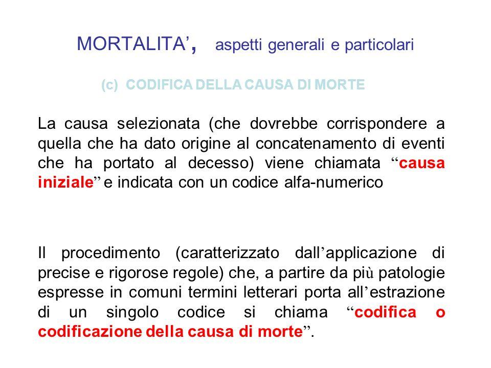 MORTALITA', aspetti generali e particolari