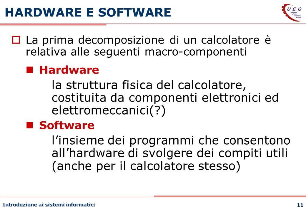 HARDWARE E SOFTWARE27/03/2017. La prima decomposizione di un calcolatore è relativa alle seguenti macro-componenti.