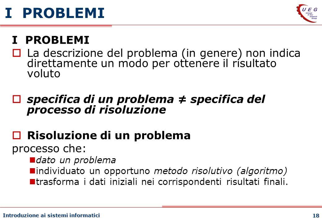 I PROBLEMI 27/03/2017. I PROBLEMI. La descrizione del problema (in genere) non indica direttamente un modo per ottenere il risultato voluto.