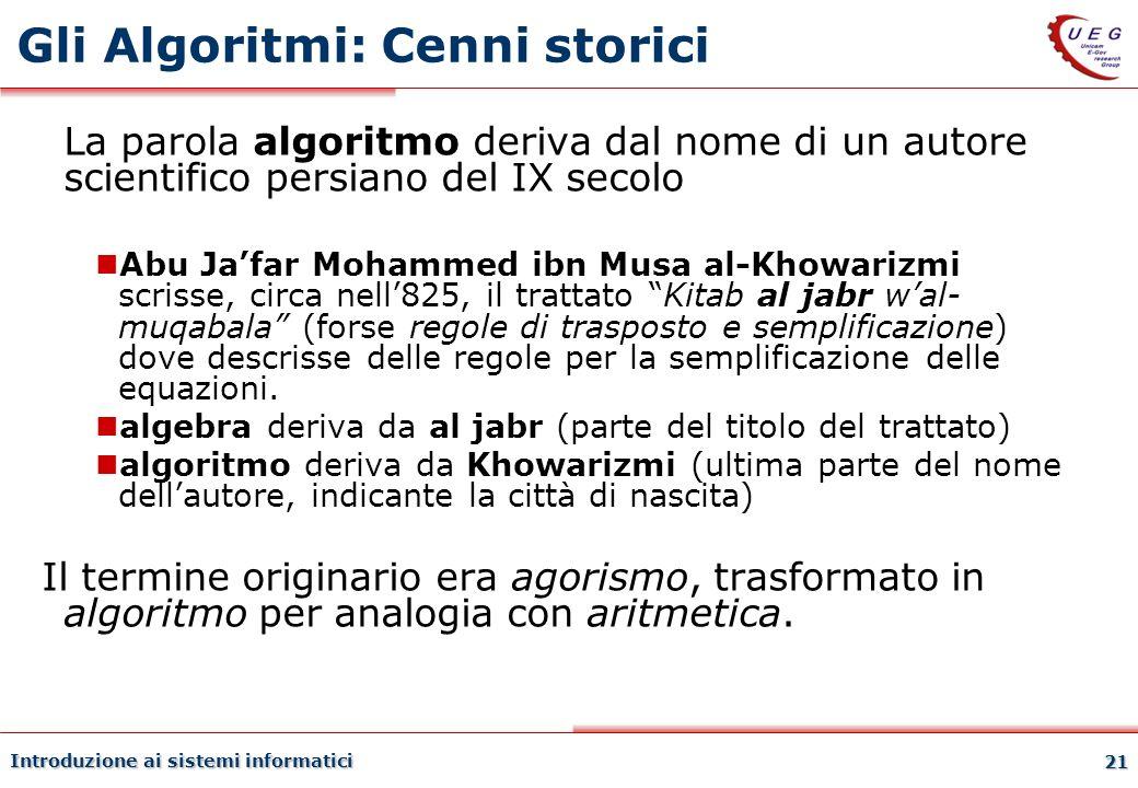 Gli Algoritmi: Cenni storici