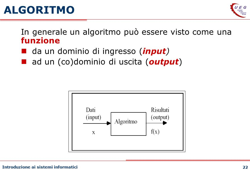 ALGORITMO In generale un algoritmo può essere visto come una funzione