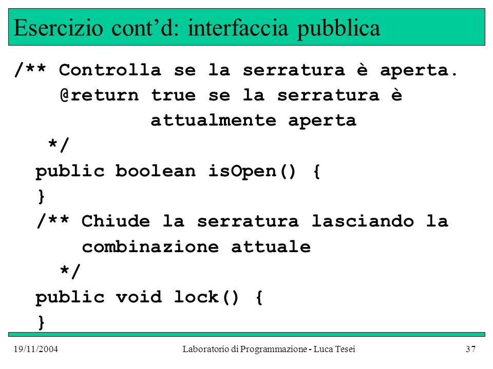 Esercizio cont'd: interfaccia pubblica