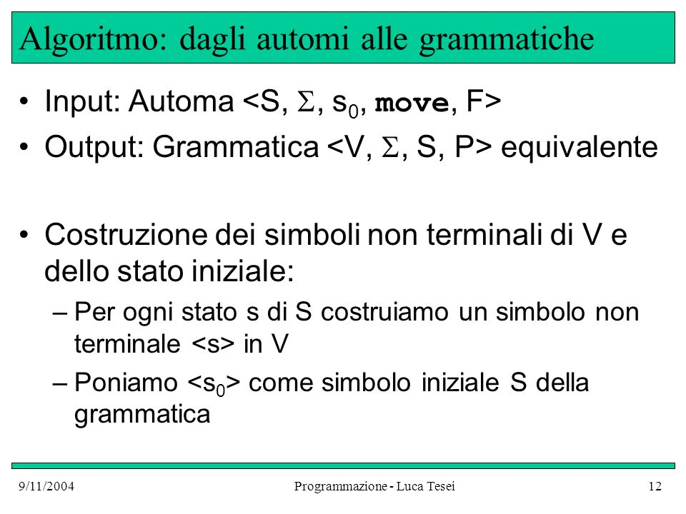 Algoritmo: dagli automi alle grammatiche