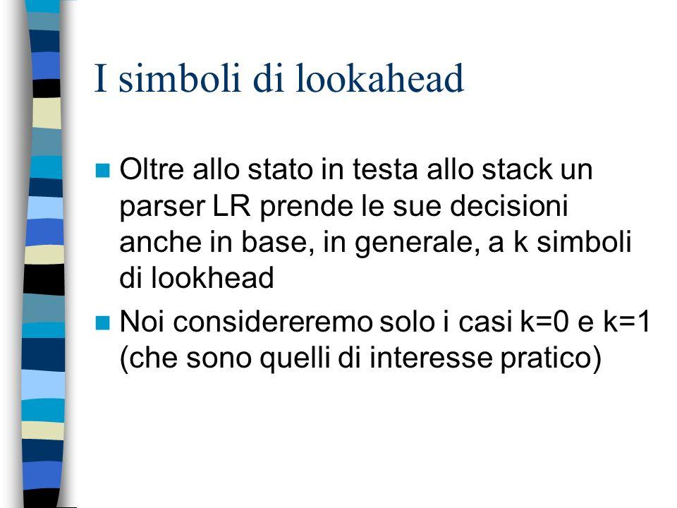 I simboli di lookahead Oltre allo stato in testa allo stack un parser LR prende le sue decisioni anche in base, in generale, a k simboli di lookhead.