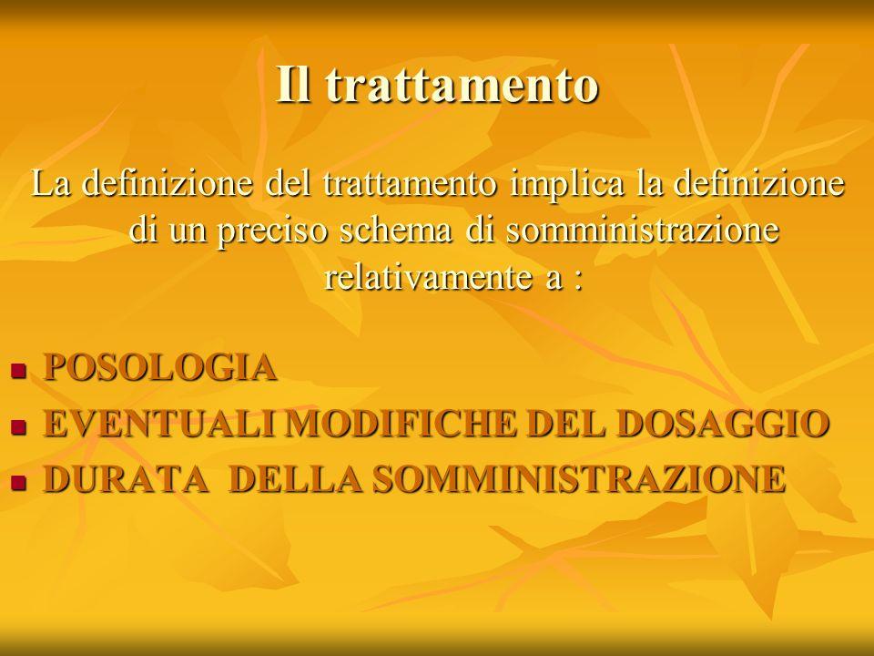 Il trattamento La definizione del trattamento implica la definizione di un preciso schema di somministrazione relativamente a :