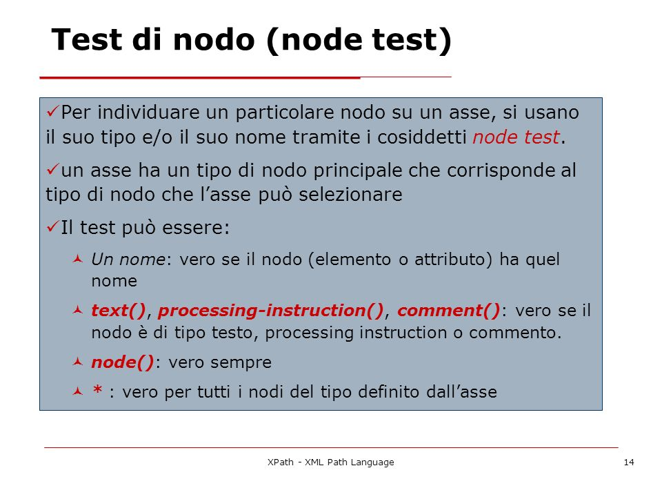 Test di nodo (node test)