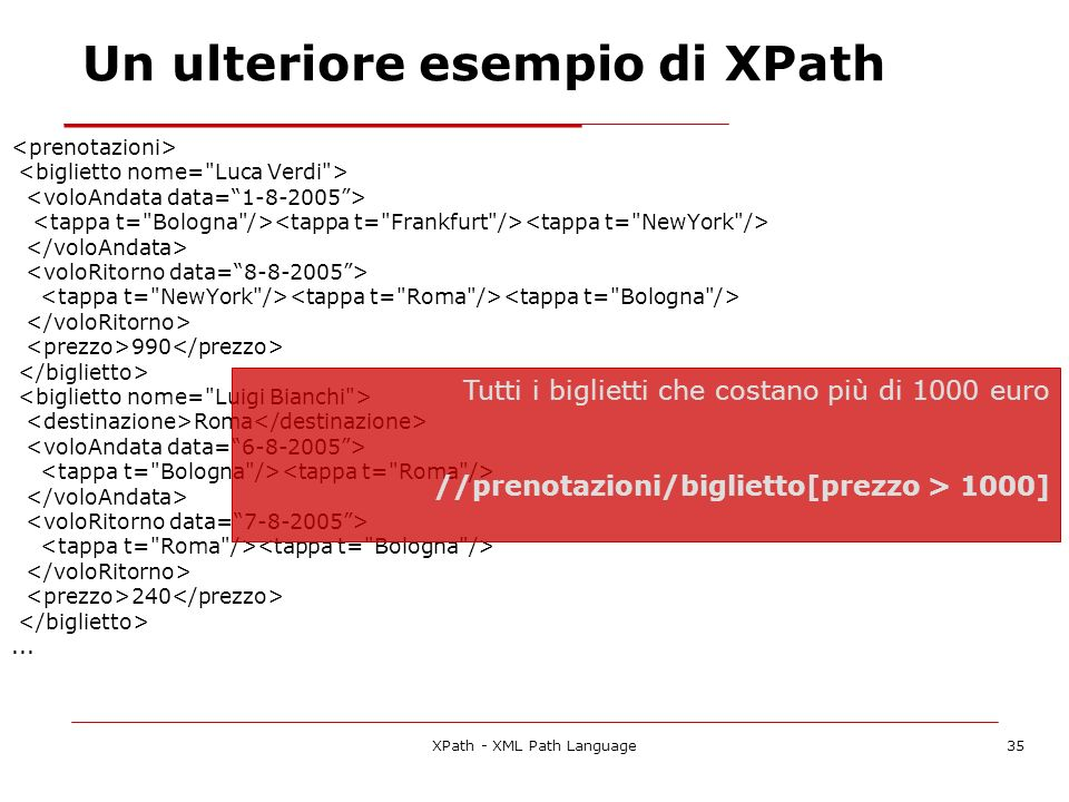 Un ulteriore esempio di XPath