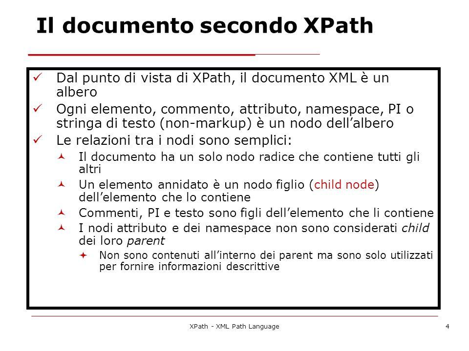 Il documento secondo XPath