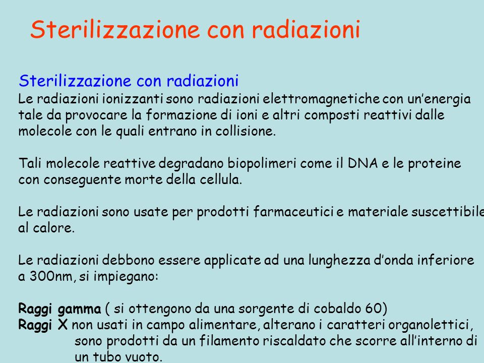 Sterilizzazione con radiazioni