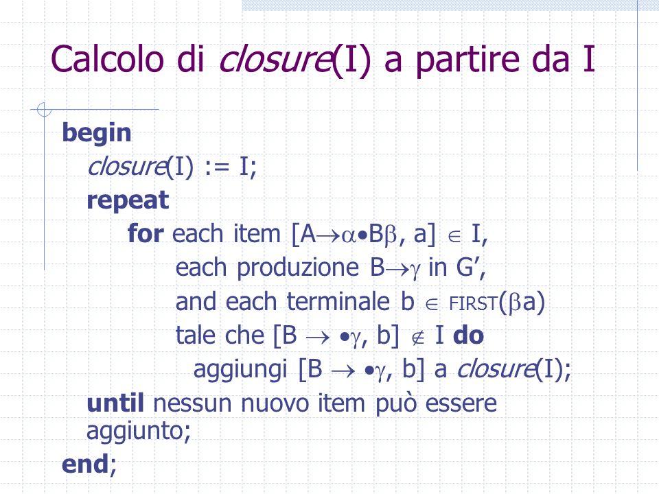 Calcolo di closure(I) a partire da I