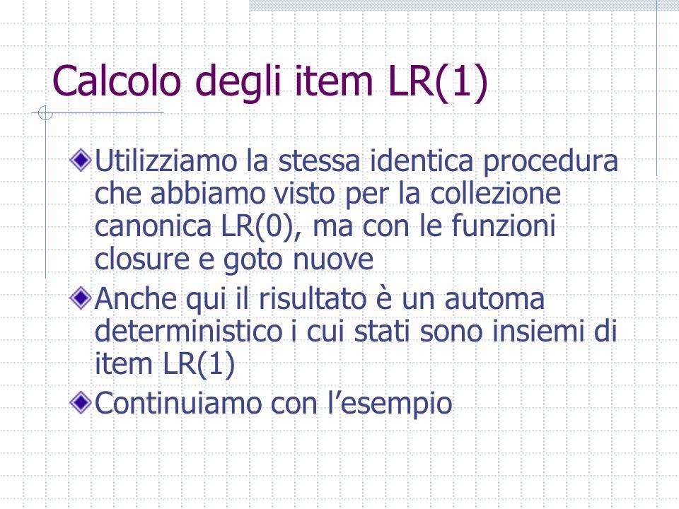 Calcolo degli item LR(1)