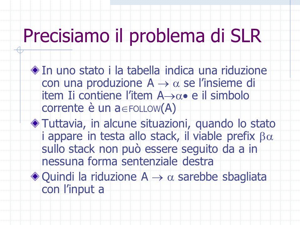 Precisiamo il problema di SLR