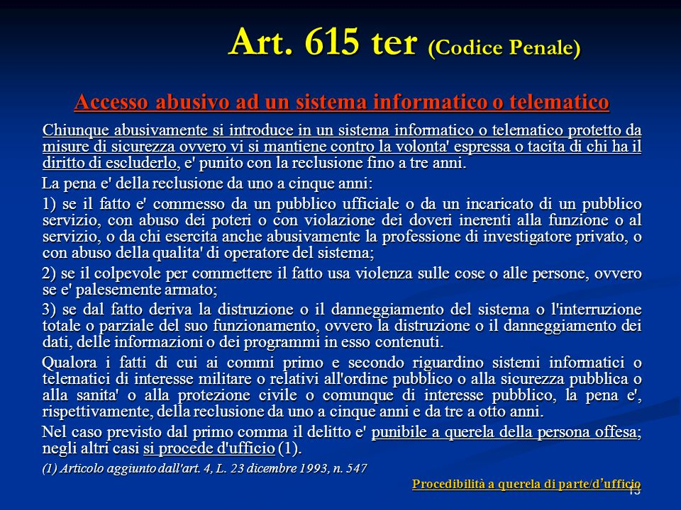 Art. 615 ter (Codice Penale)