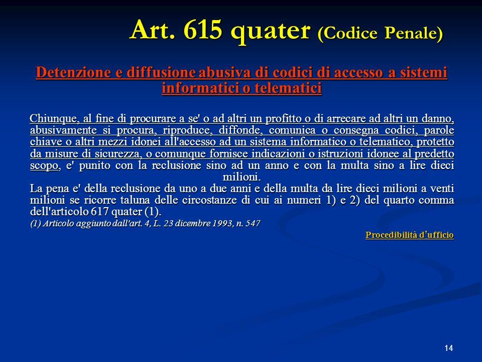 Art. 615 quater (Codice Penale)