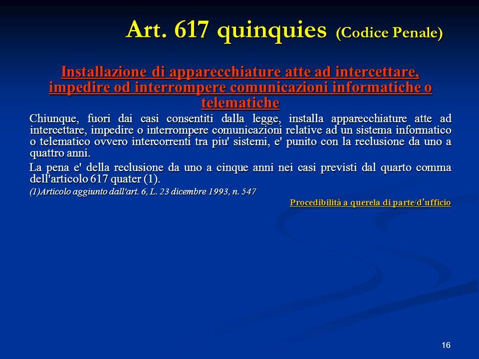 Art. 617 quinquies (Codice Penale)