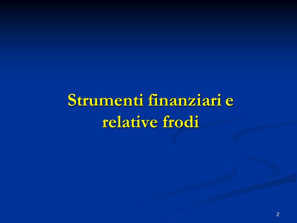Strumenti finanziari e relative frodi