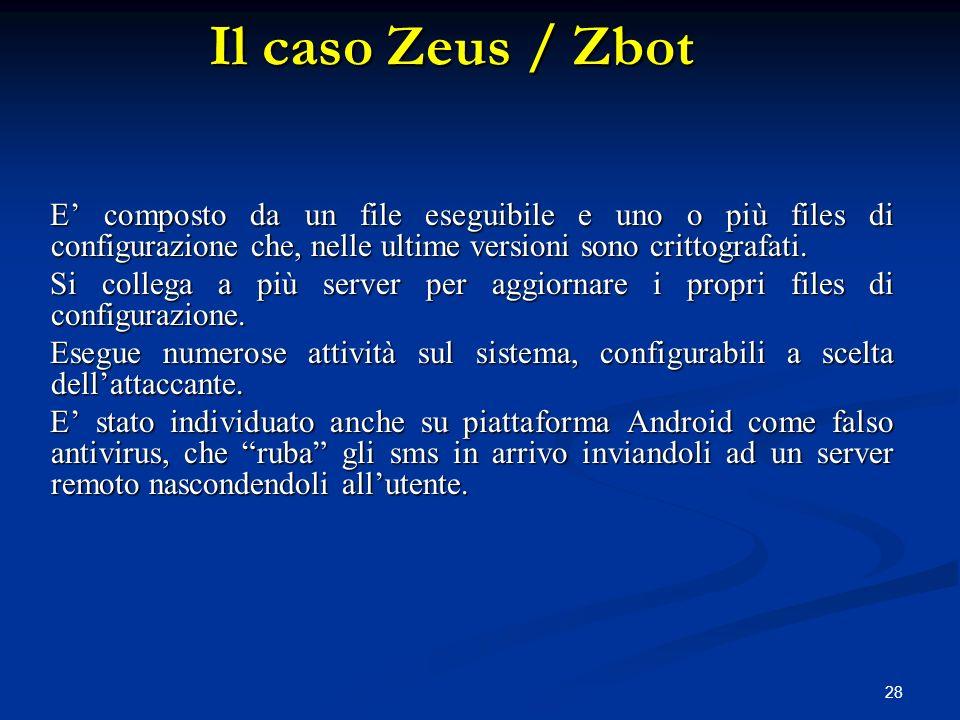 Il caso Zeus / Zbot E' composto da un file eseguibile e uno o più files di configurazione che, nelle ultime versioni sono crittografati.