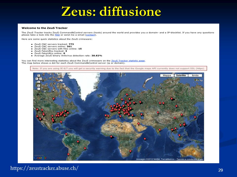 Zeus: diffusione https://zeustracker.abuse.ch/