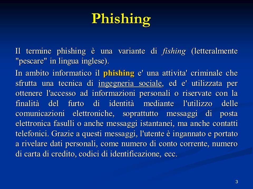 Phishing Il termine phishing è una variante di fishing (letteralmente pescare in lingua inglese).