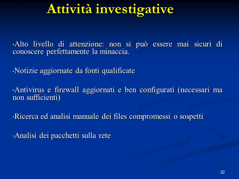 Attività investigative