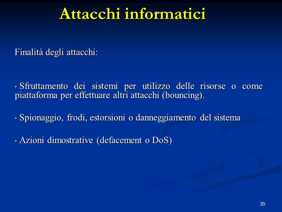 Attacchi informatici Finalità degli attacchi: