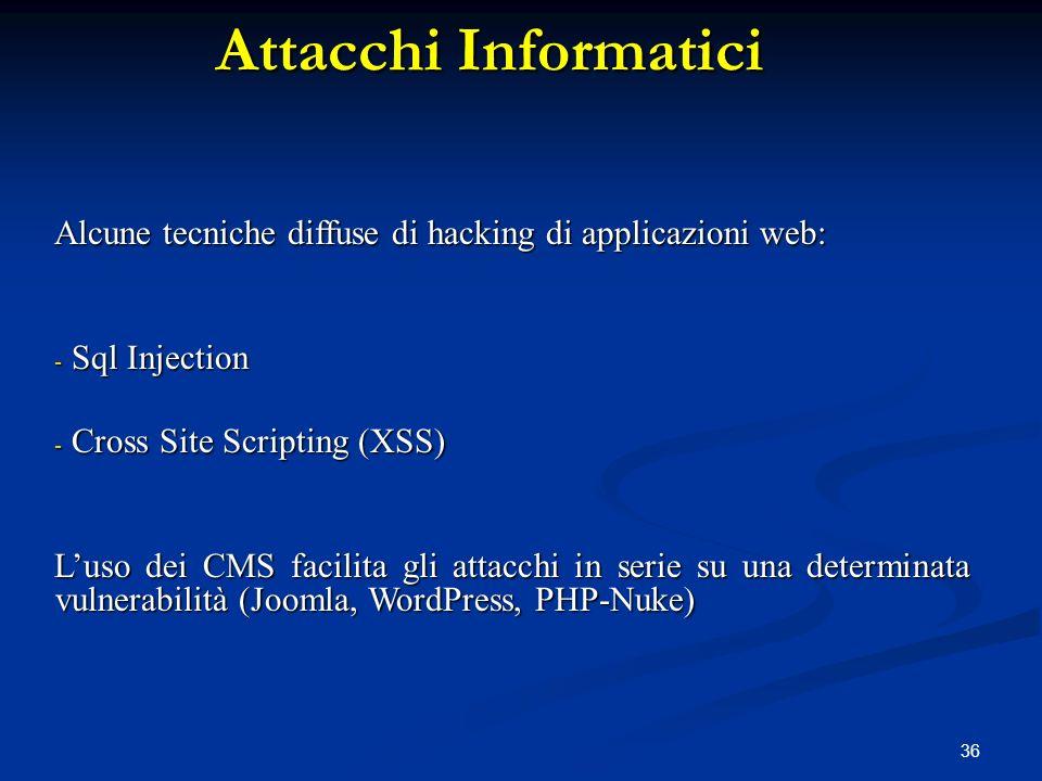 Attacchi Informatici Alcune tecniche diffuse di hacking di applicazioni web: Sql Injection. Cross Site Scripting (XSS)