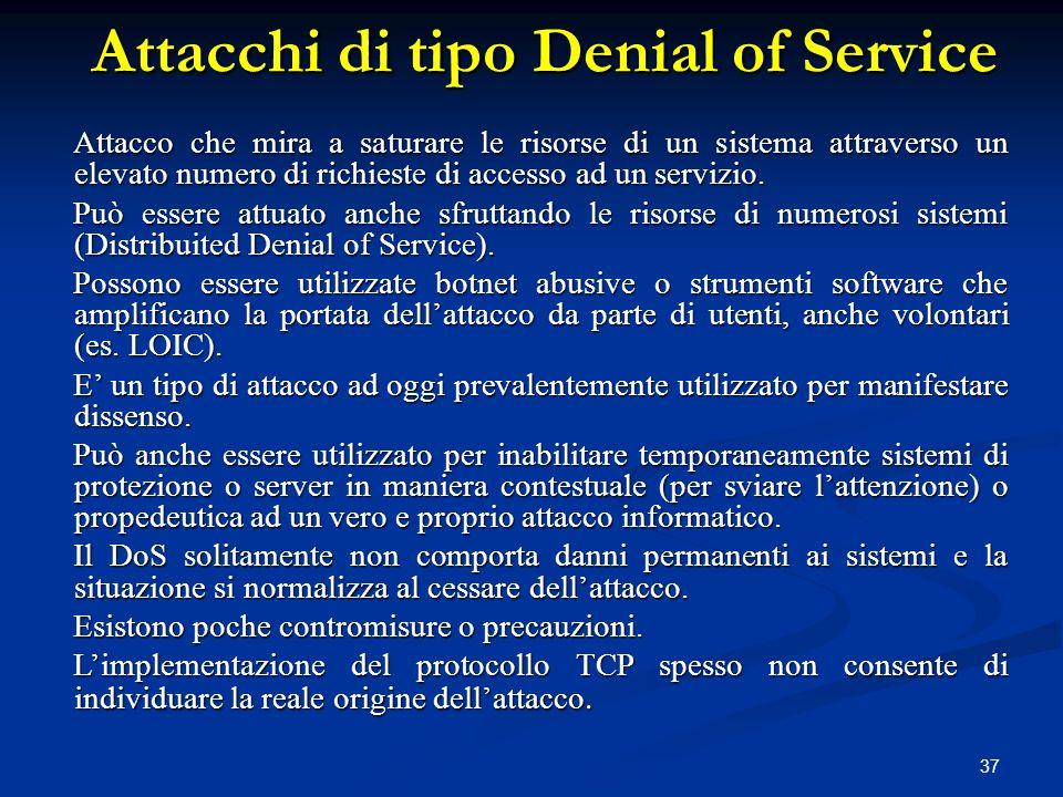 Attacchi di tipo Denial of Service