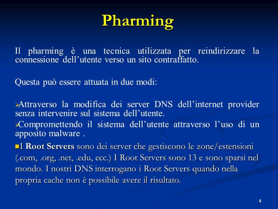 Pharming Il pharming è una tecnica utilizzata per reindirizzare la connessione dell'utente verso un sito contraffatto.