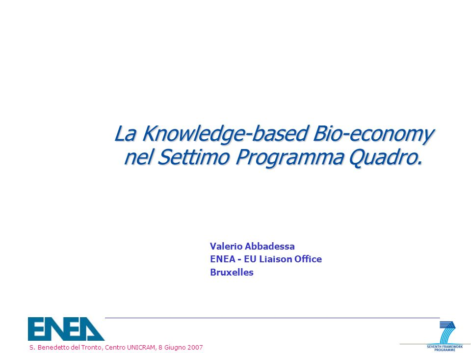 La Knowledge-based Bio-economy nel Settimo Programma Quadro.