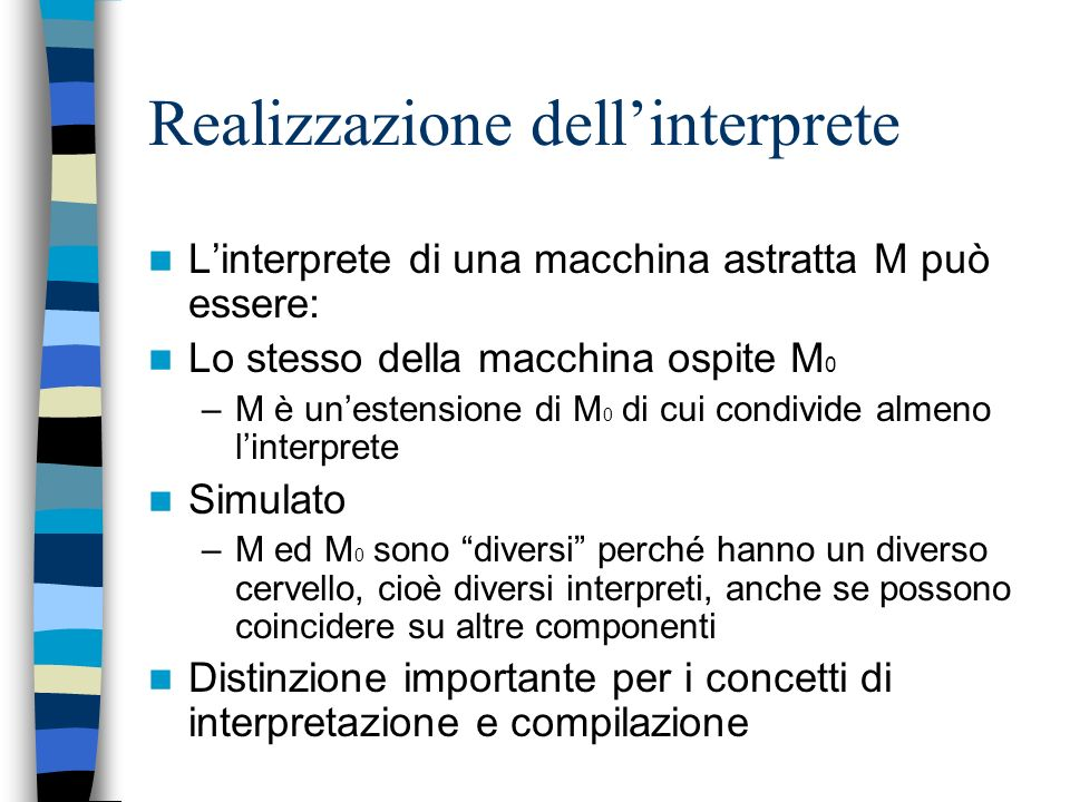 Realizzazione dell'interprete