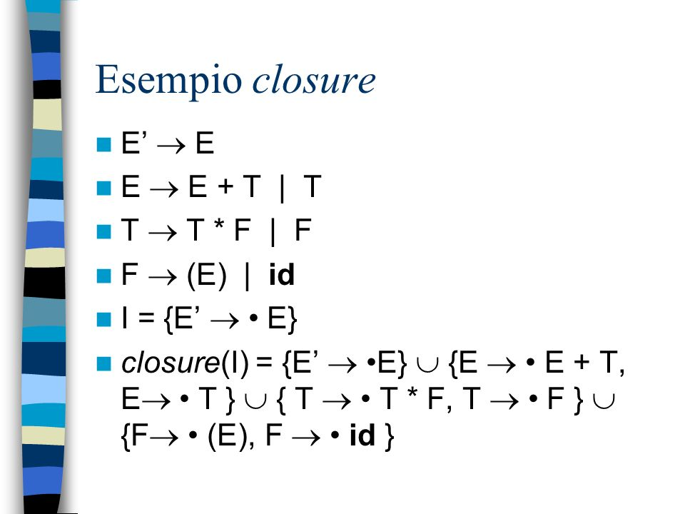 Esempio closure E'  E E  E + T | T T  T * F | F F  (E) | id