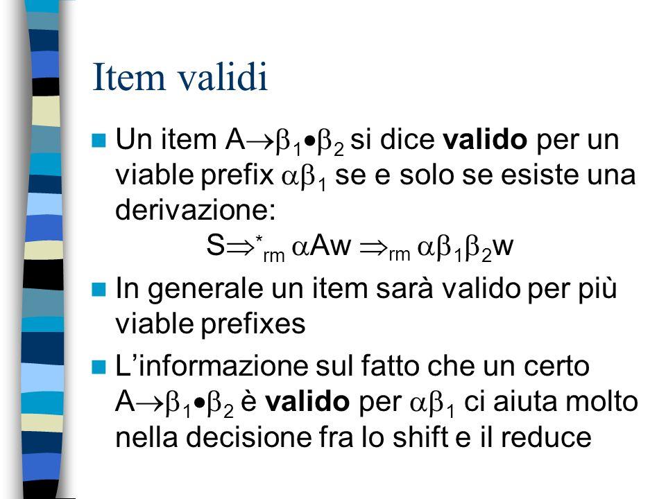 Item validi Un item A12 si dice valido per un viable prefix 1 se e solo se esiste una derivazione: S*rm Aw rm 12w.