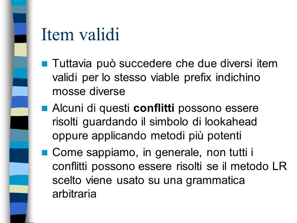 Item validi Tuttavia può succedere che due diversi item validi per lo stesso viable prefix indichino mosse diverse.