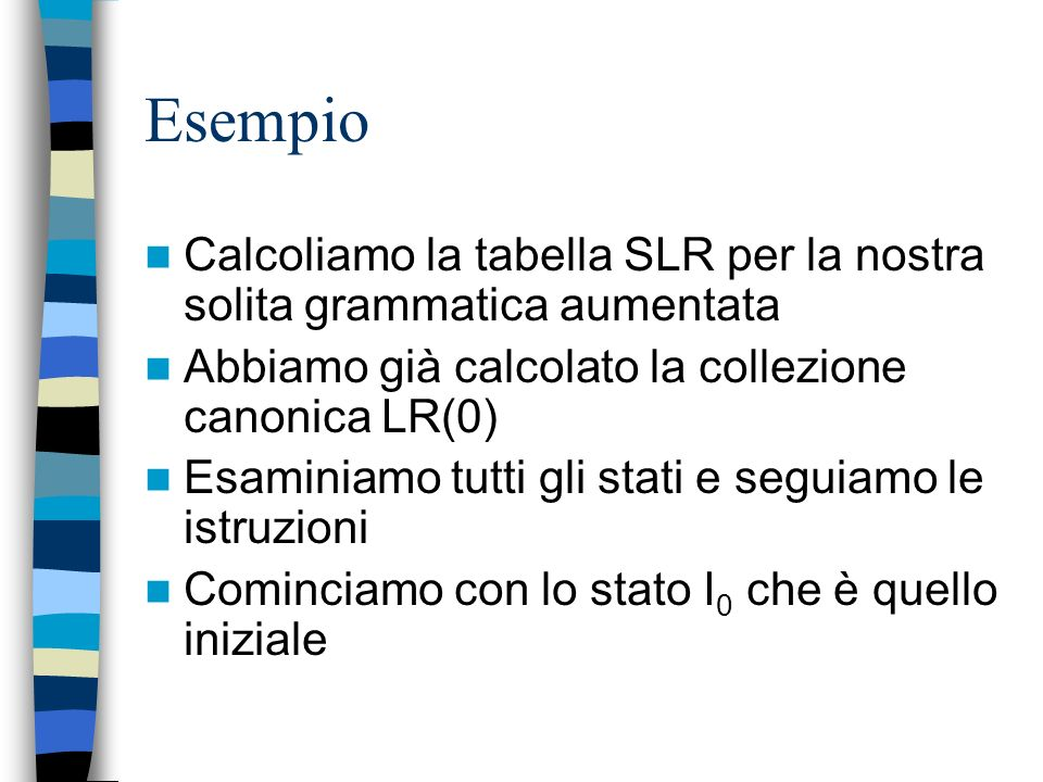 Esempio Calcoliamo la tabella SLR per la nostra solita grammatica aumentata. Abbiamo già calcolato la collezione canonica LR(0)