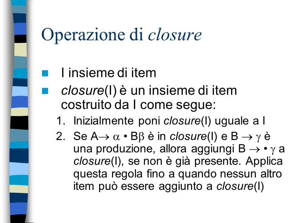 Operazione di closure I insieme di item