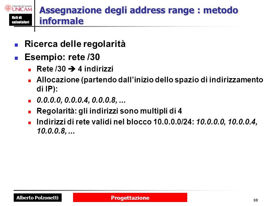 Assegnazione degli address range : metodo informale