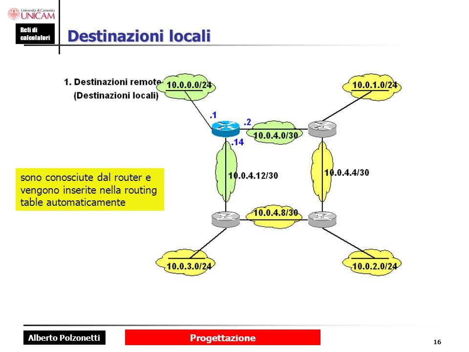 Destinazioni locali sono conosciute dal router e vengono inserite nella routing table automaticamente.