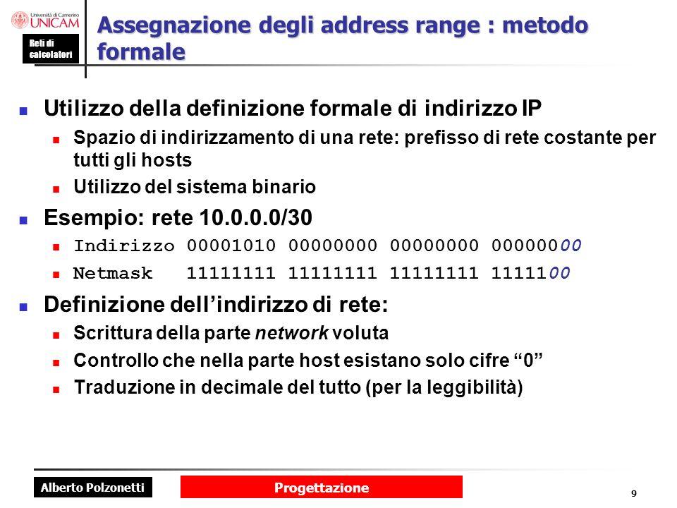 Assegnazione degli address range : metodo formale